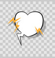 white speech bubble in heart shape with lightning vector image vector image
