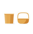 wicker basket icons isolated flat cartoon vector image