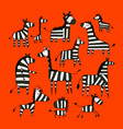 zebra family sketch for your design vector image vector image