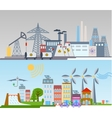 Green ecology city infographics background and vector image