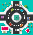 Top View Flat Design Roundabout Crossroad - vector image