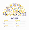 awards concept in half circle with thin line icons vector image vector image