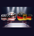 boxing gloves with prints of the usa and german vector image vector image