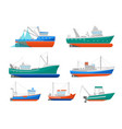 cartoon fishing boats icons set vector image