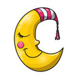 cartoon sleeping moon in striped nightcap vector image