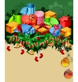christmas greeting card with gift boxes vector image vector image
