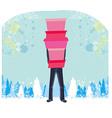 Christmas shopping - winter sale card Man shopping vector image vector image