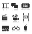 cinema icons set black square signs with movie vector image
