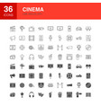 cinema line web glyph icons vector image