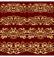 Collection of gold floral seamless border design e vector image vector image