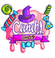 creative halloween styled candy shop banner vector image vector image