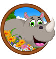 cute Cartoon rhino for you design vector image vector image