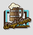 draft beer wooden mug or a tankard of beer with vector image vector image