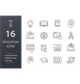 education line icons set black vector image