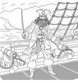 evil captain of pirates vector image