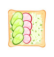 flat icon of toasted bread slice with vector image vector image