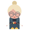 grandma old woman knitting isolated on vector image