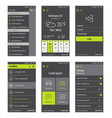 Green buttons set of mobile user interface design