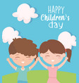 happy childrens day smiling boy and girl vector image