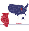 illinois map counties with usa map vector image