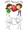 lovely couple on valentine vector image vector image