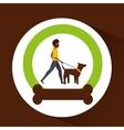 man walking a brown dog vector image vector image
