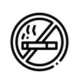 no smoking forbidden sign thin line icon vector image