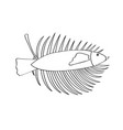 outline of a fish with a palm leaf vector image