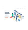 people learning foreign languages online vector image vector image