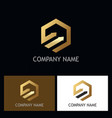 polygon arrow gold logo vector image