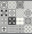portuguese tiles pattern lisbon seamless black vector image vector image