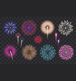 realistic fireworks set vector image vector image