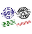 scratched textured free edition seal stamps vector image vector image