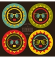 Set of colorful sun labels with woman face in it vector image vector image