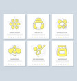 set of honey colored elements for multipurpose a4 vector image