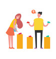 shopping people choosing on vector image vector image