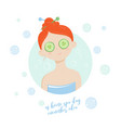spa girl cucumber mask vector image