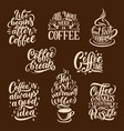 steaming coffee drink lettering vector image vector image