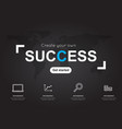 success icons with world black map for business vector image vector image