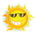 Sun Cartoon Mascot Character With Sunglasses vector image vector image
