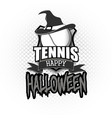 tannis ball with witch hat and happy hallowen vector image vector image