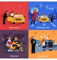 Taxi Service 2x2 Banners Set vector image vector image