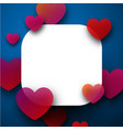 valentine s square card with hearts vector image vector image