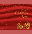 valentines day card with gold heart shape on red vector image