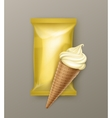 Vanilla Banana Ice Cream Waffle Cone with Foil vector image vector image