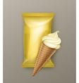 Vanilla Banana Ice Cream Waffle Cone with Foil vector image