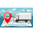 white truck over folded flat map and red pin vector image vector image