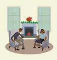 winter festive season couple in decor living room vector image