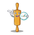 with clock rolling pin character cartoon vector image