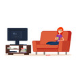 young happy woman is watching tv vector image
